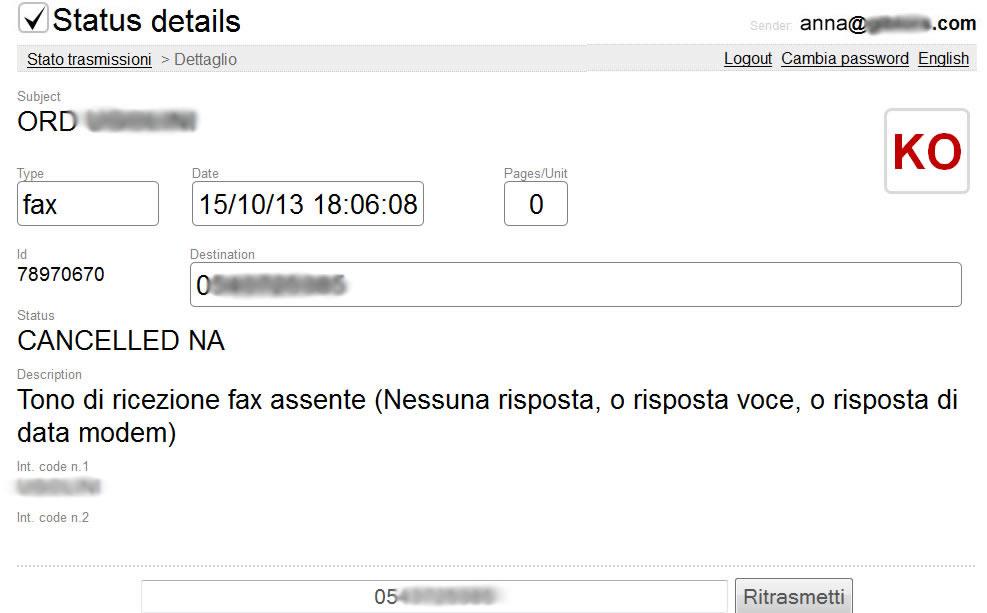 Esempio di fax non recapitato