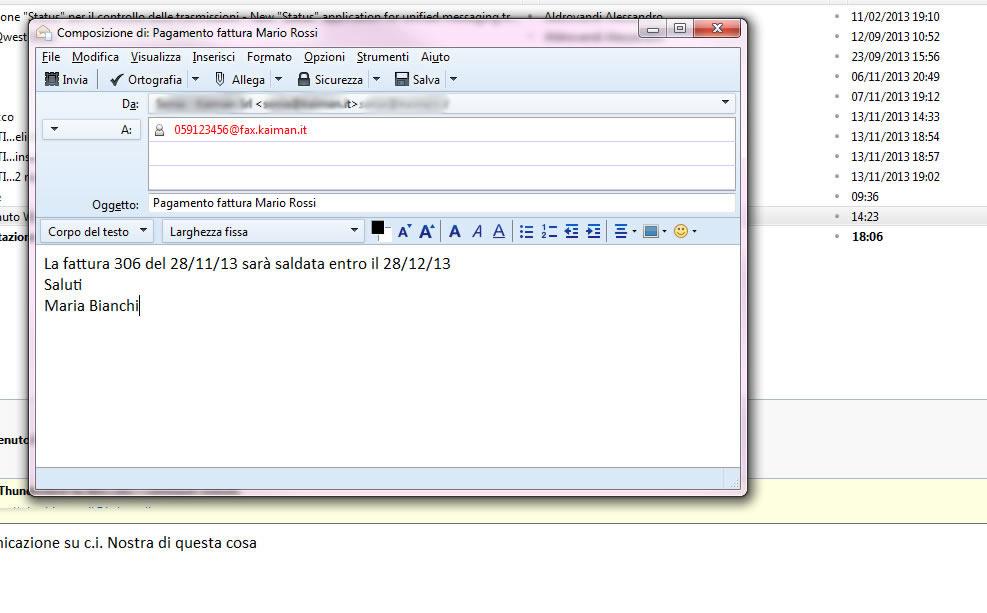 Esempio di invio fax
